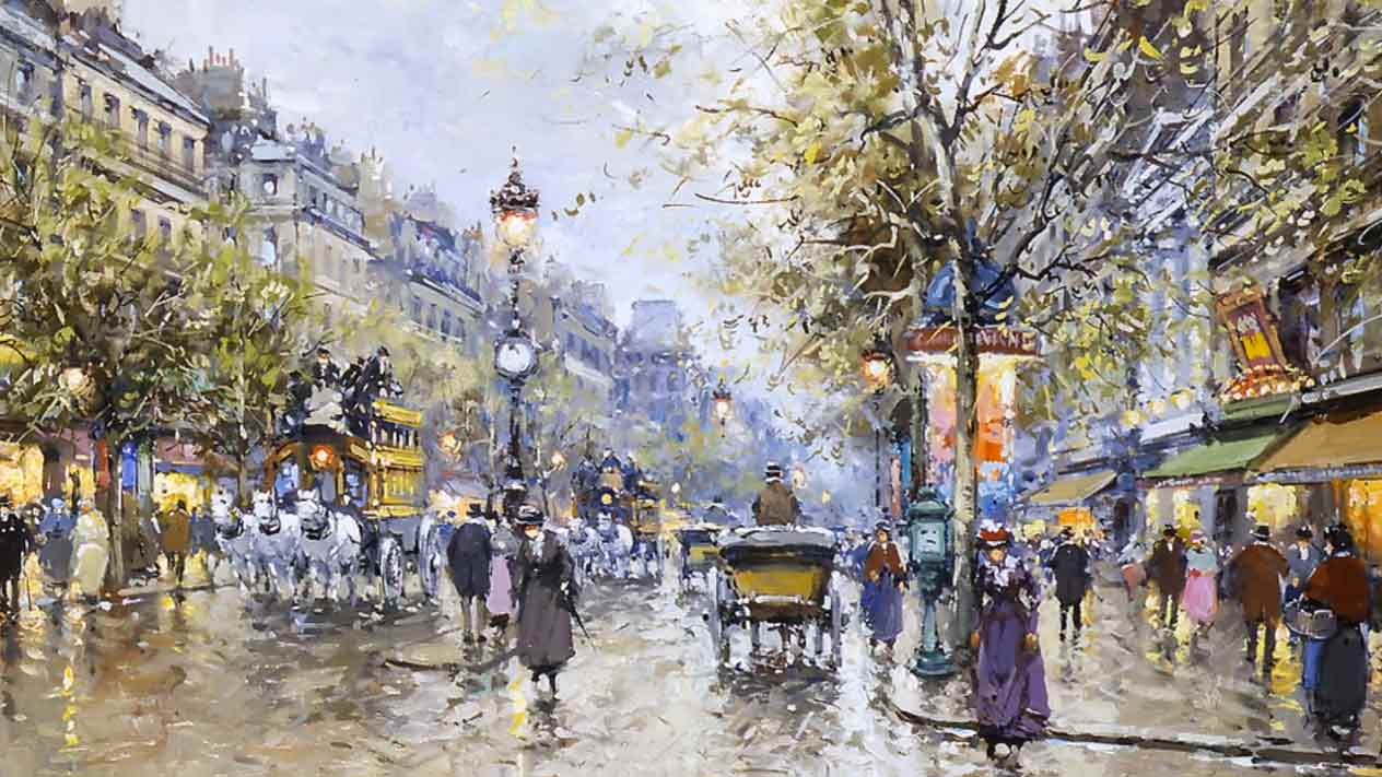 A painting of 19th-century Grands Boulevards—Paris, France