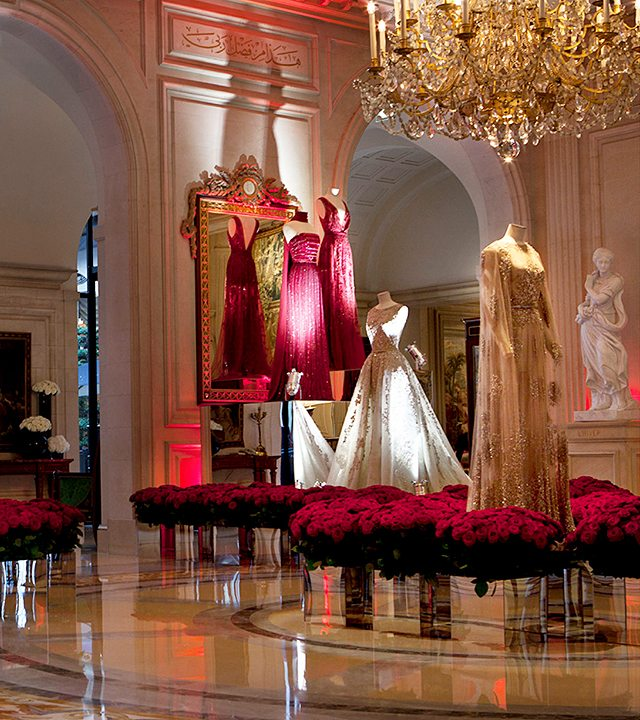 Gowns displayed at the Art Meets Fashion Elie Saab exhibition at Four Seasons Hotel George V—Paris, France