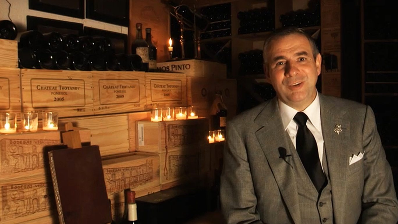 Director Eric Beaumard tours Le Cinq's wine cellar at Four Seasons Hotel George V—Paris, France