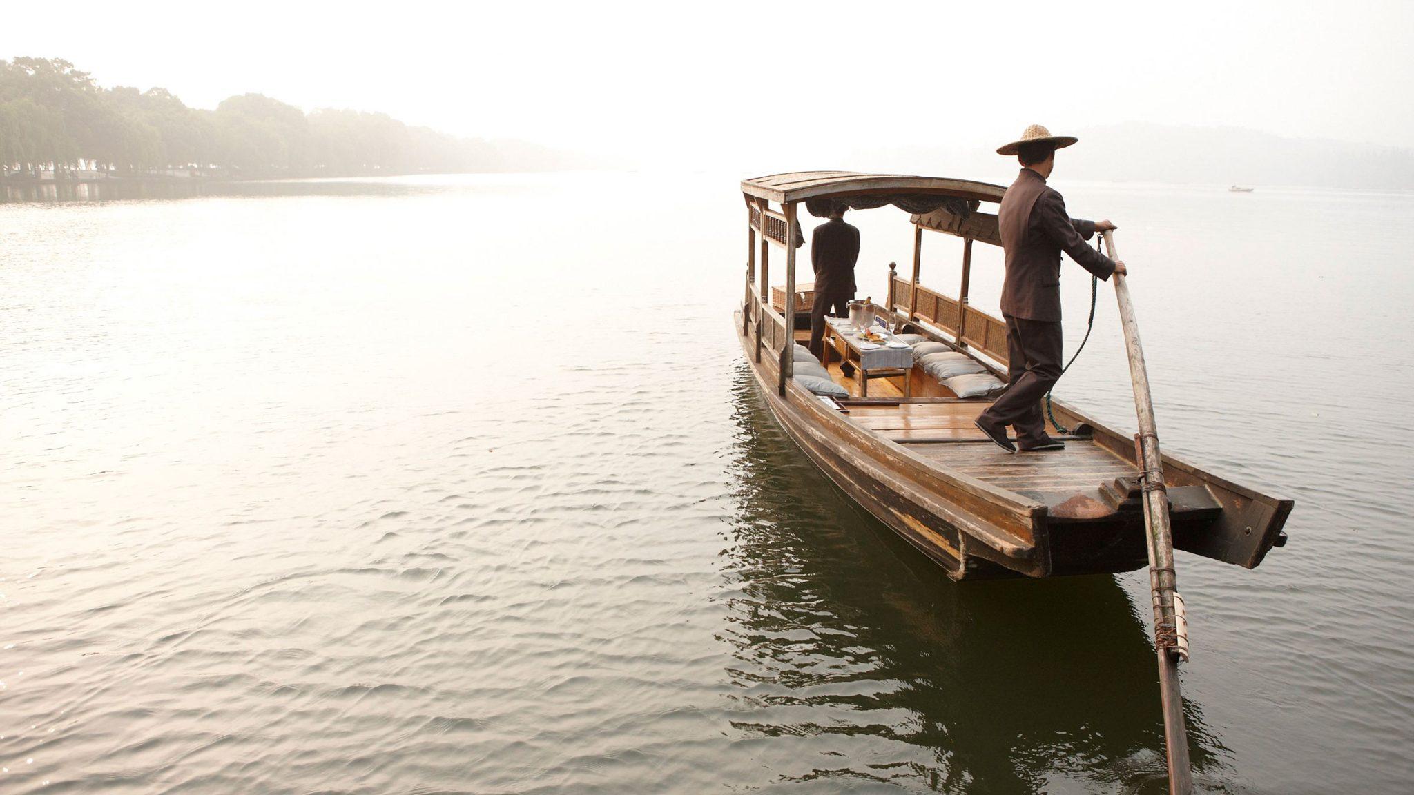Llegue a Hangzhou en barca