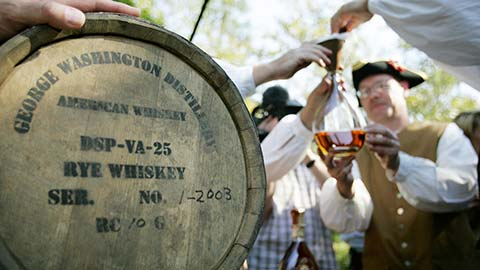 Sip rye whiskey during a private visit to George Washington's Mount Vernon estate