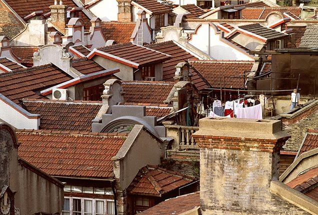 Rooftops of shikumen houses in Shanghai