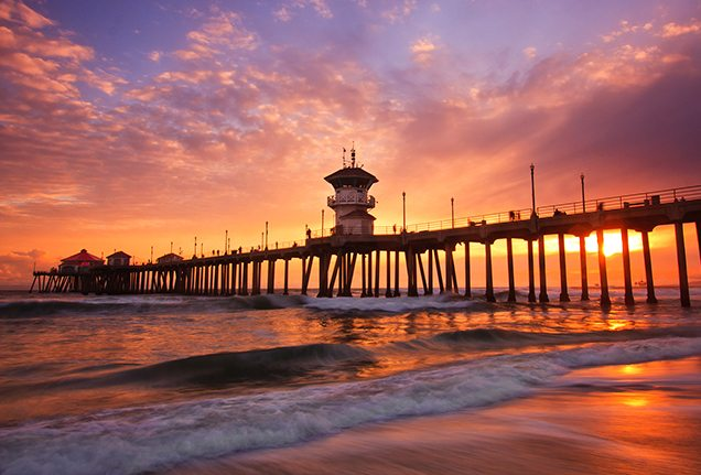 Huntington Beach Pier in California.