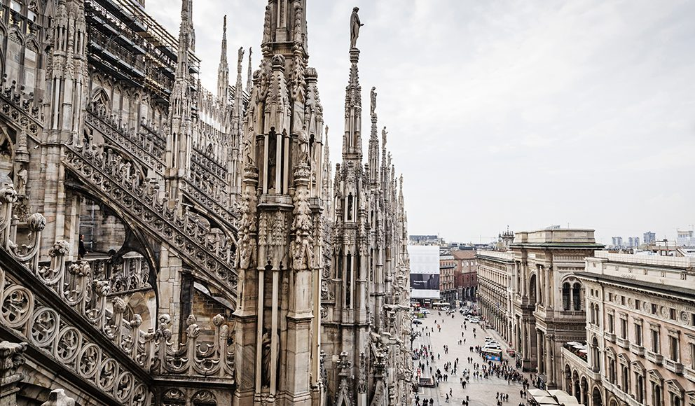 The Piazza Duomo and the Duomo di Milano in Milan, Italy