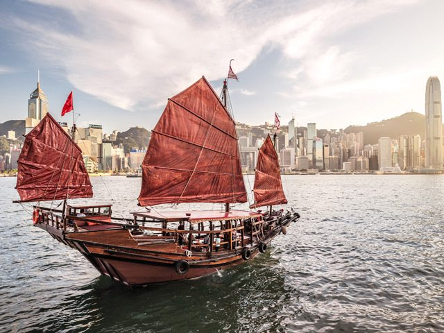 Hong Kong Red Sailboat