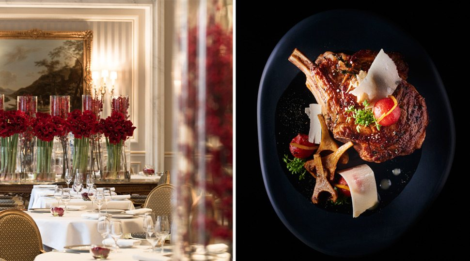 At Le Cinq, dine on exquisite cuisine to celebrate the final night of your journey.