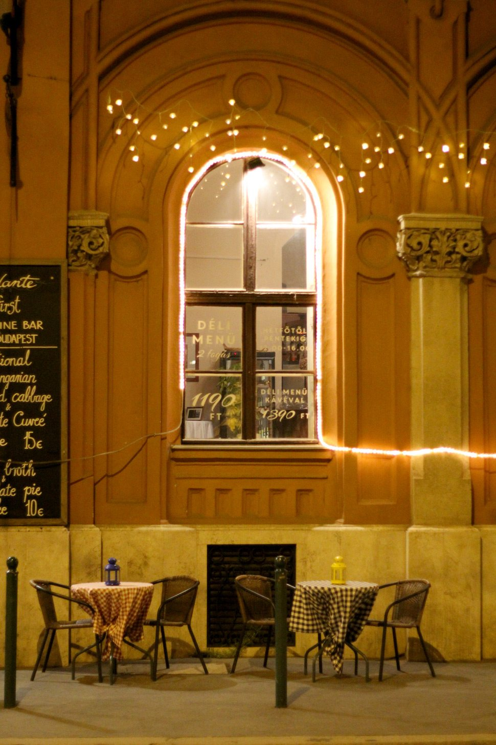 Street cafes at night in Budapest