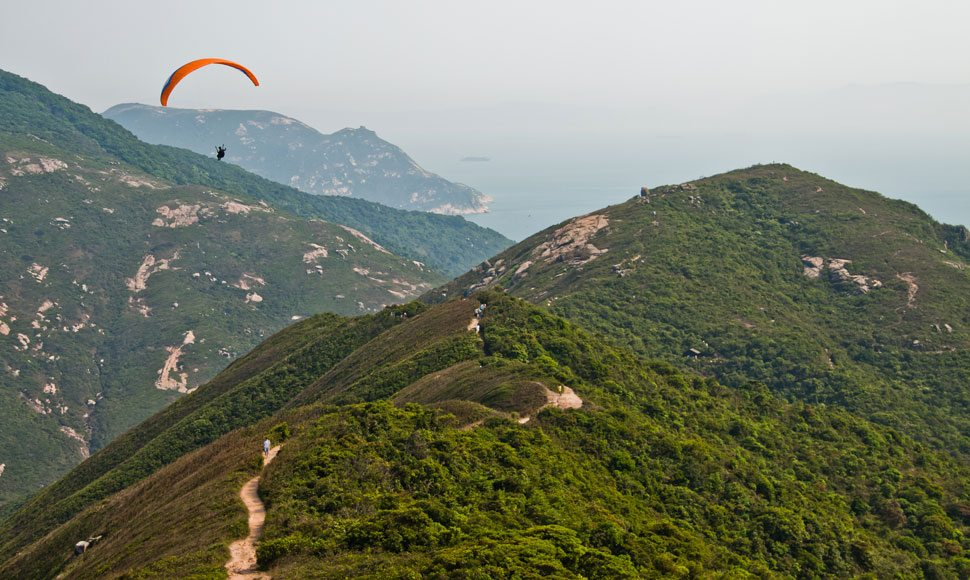 At 248 metres high, Shek O Peak, on the Dragon's Back trail, is one of Hong Kong's most popular paragliding spots.