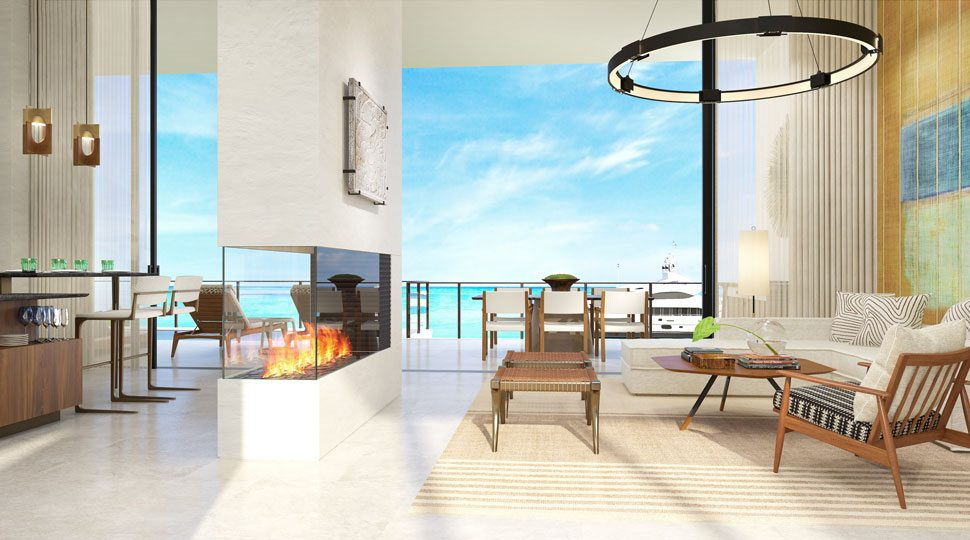 A rendering of the future living room of the Four Seasons Resort Los Cabos at Costa Palmas