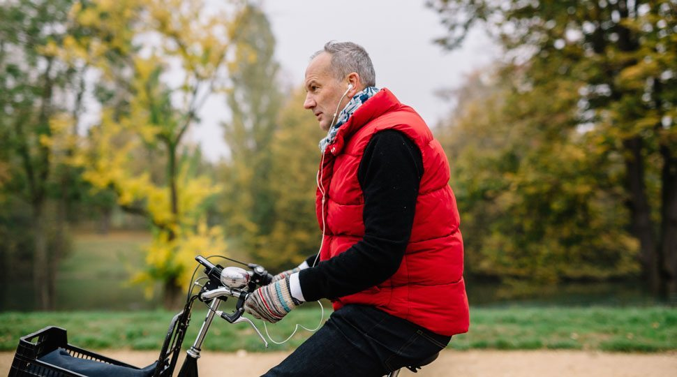 Chef Le Squer rides his bike in Paris