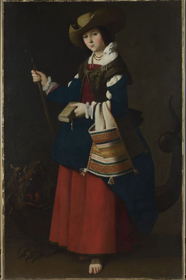 Francisco de Zurbaran's Saint Margaret of Antioch. On Display at the National Gallery