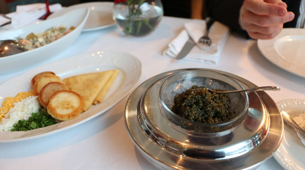 Caviar at Dr. Zhivago in Moscow