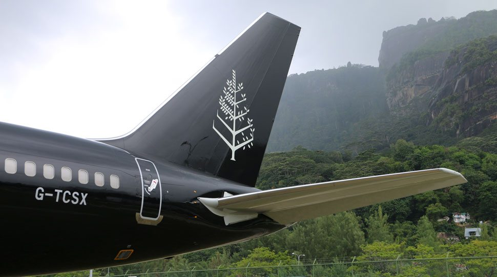 The tail of the Four Seasons Jet