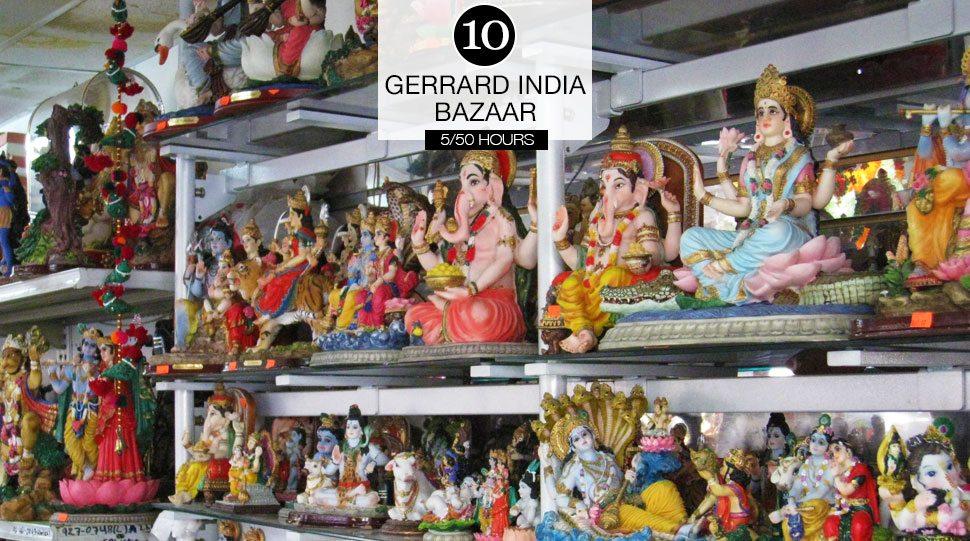 Indian statues on display in the Gerrard India Bazaar, Toronto.