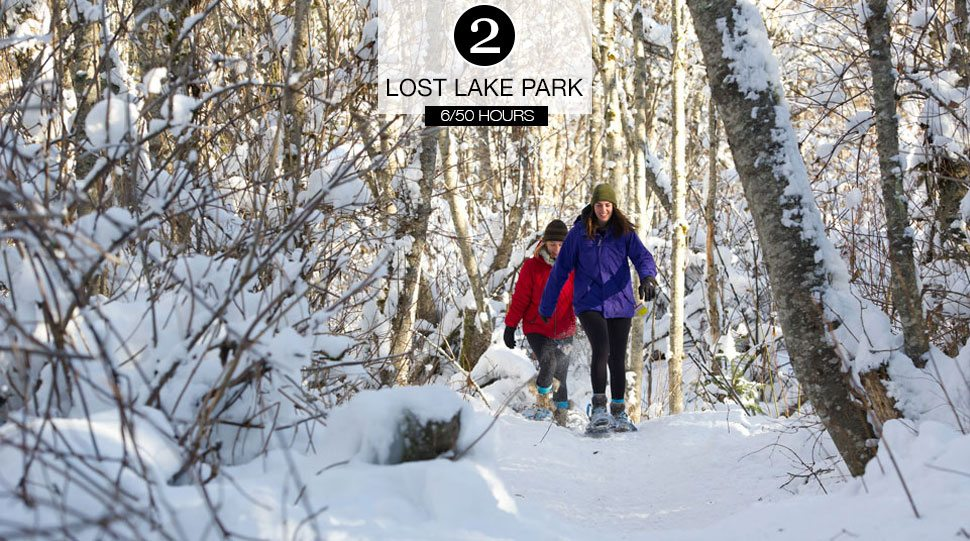 Women snowshoe at the Lost Lake Park, Whistler.