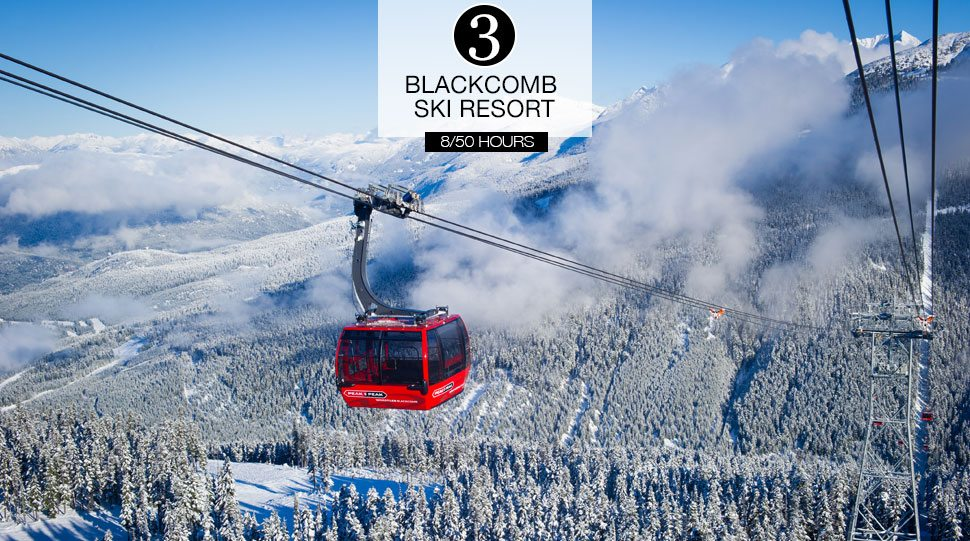 A Gondola crosses between peaks at the Whistler Blackcomb Ski Resort.