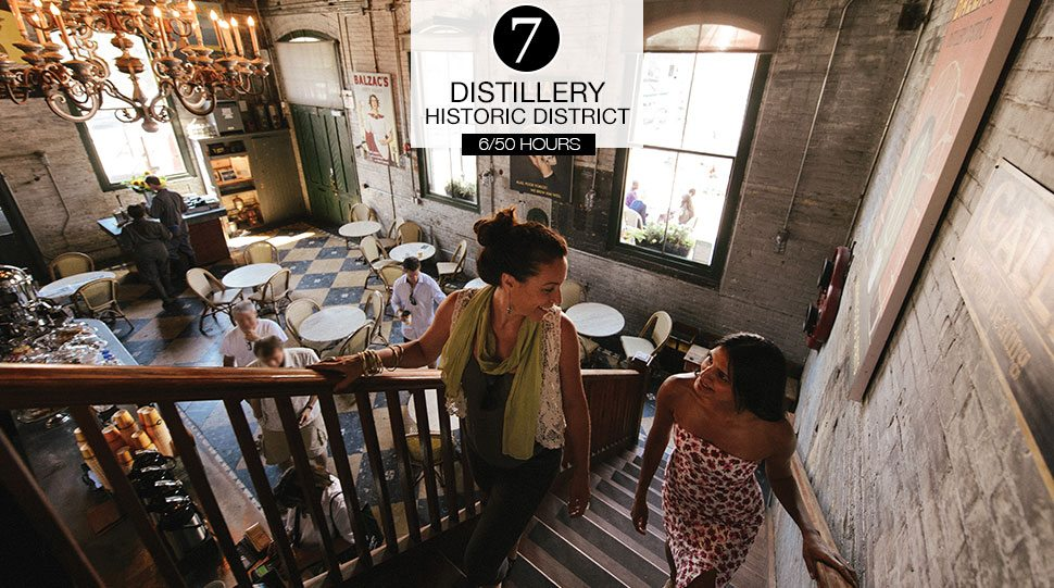 Two women in on of the Toronto Distillery District's historic restaurants.