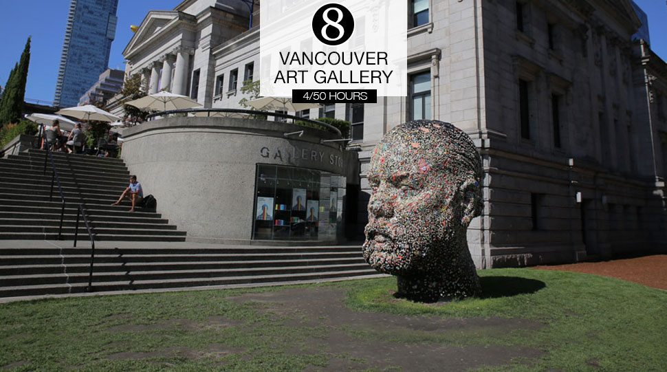 A statue outside of the Vancouver Art Gallery.