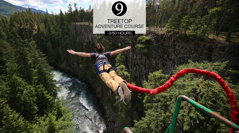 A bungee jumper at the Treetop Adventure Course in Whistler, Canada.