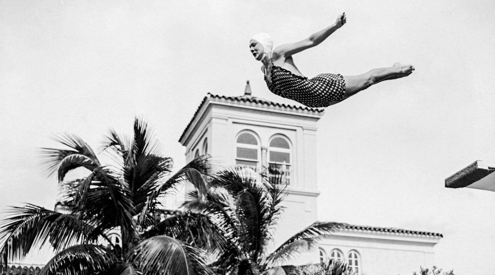 A diver at the famous Miami Surf Club resort, circa 1950