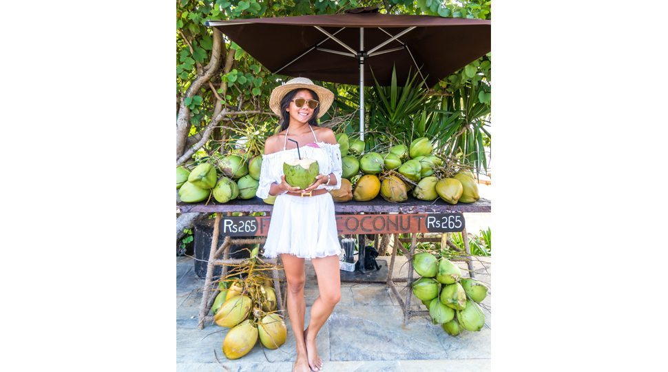 A fresh fruit stand in Mauritius.