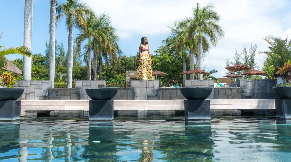 Marcy Yu at the Four Seasons Mauritius hotel pool