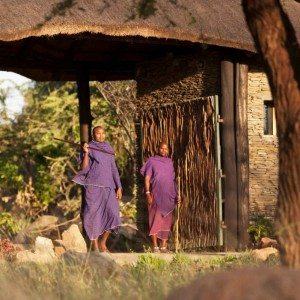 Maasi greet at Four Seasons Safari Lodge, Serengeti gates