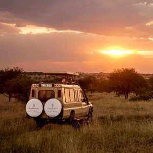 Four Seasons Safari Lodge, Serengeti jeep at sunset—Africa