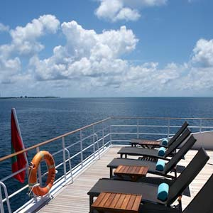 The deck of the Four Seasons Explorer, Maldives