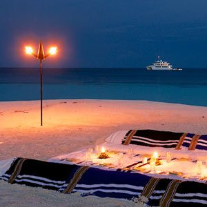 An island dining table in the Maldives