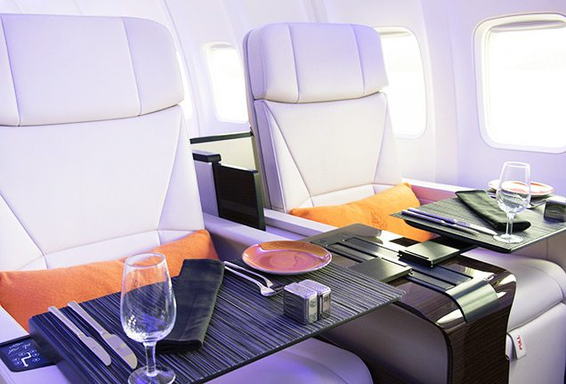 Four Seasons Jet seats with place settings