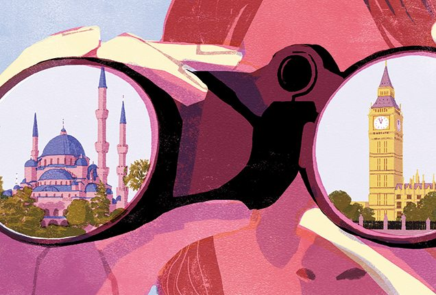 Istanbul and London binocular illustration by Tatsuro Kiuchi