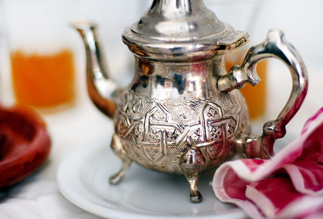 It is tradition to serve mint tea in Morocco.
