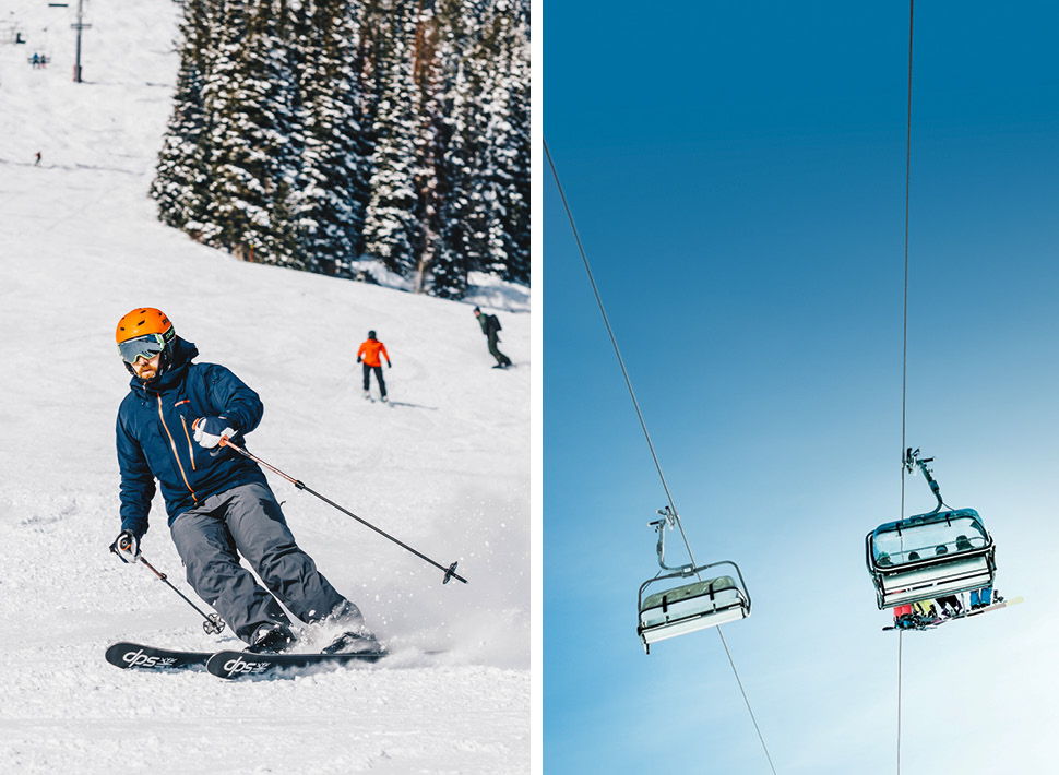 Collage of a man skiing down a slope (left) and a ski lift holding passangers (right)