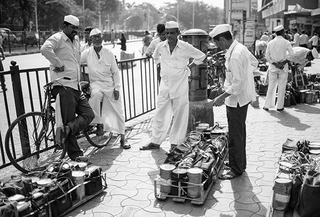 Mumbai dabbawalas organize their dabbas