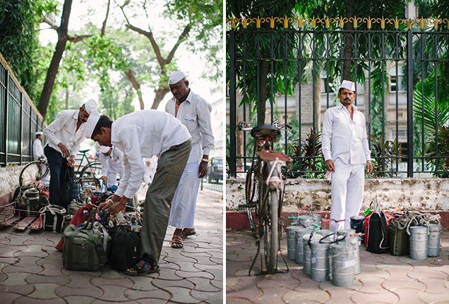 Mumbai dabbawalas preparing lunches outside Churchgate