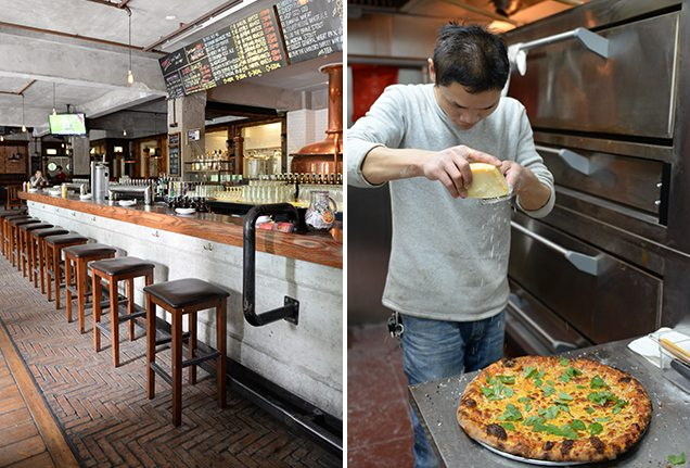 Bar and pizza maker at Great Leap Brewing Co. in Beijing