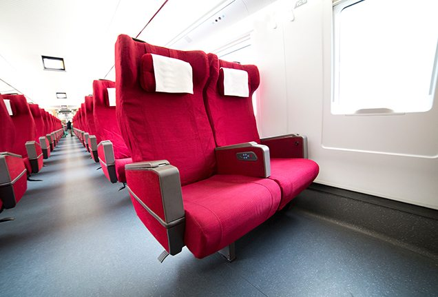 Interior of a high-speed train in China