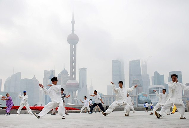 tai chi on the Bund in Shanghai