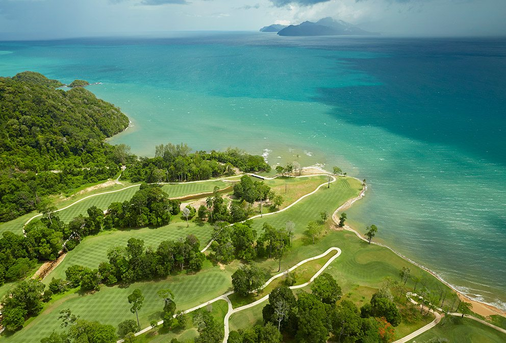 One of the most stunning courses in the world, the 6,750-yard course at The Els Club Teluk Datai meanders through centuries-old rain forest down to turquoise waters.