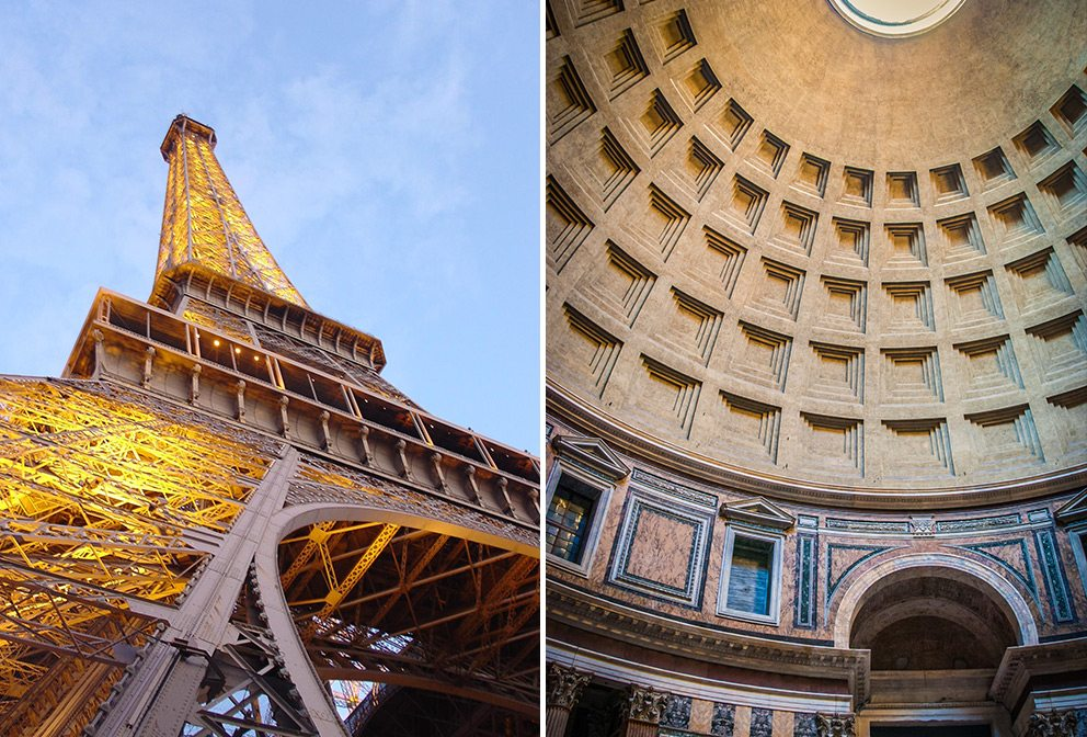 Eiffel Tower, Paris, France (L); Pantheon Interior, Rome (R)