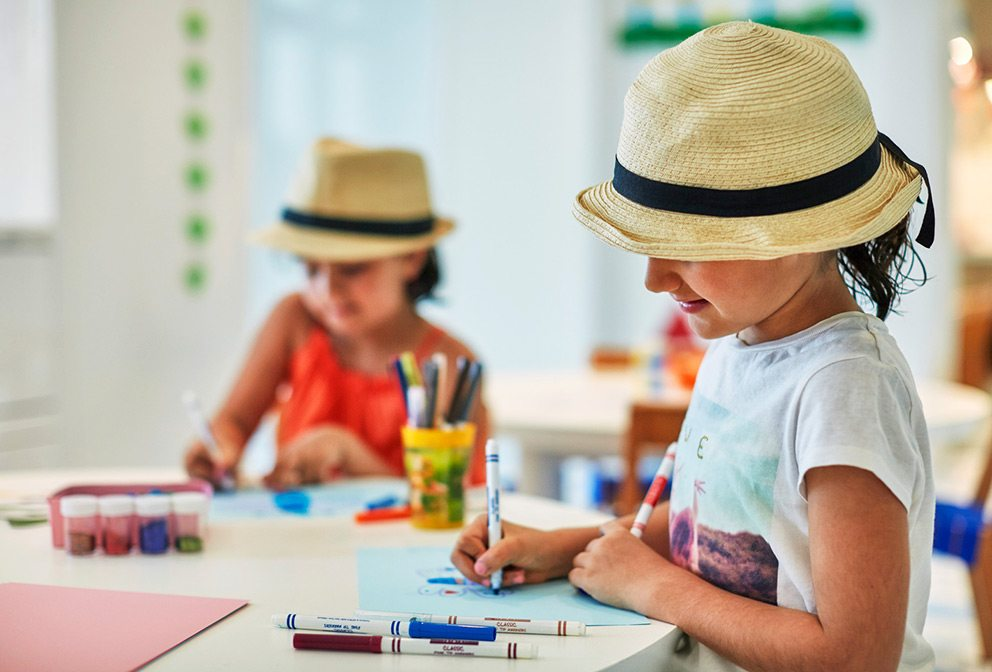 Amanda Blakley always keeps art supplies in her toddler travel survival kit: Kids Coloring at Kids For All Seasons at Four Seasons Bahrain Bay