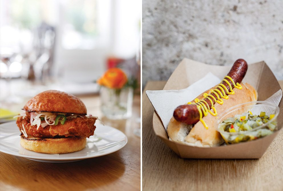 Paris Cuisine for Adult & Teen: Verjus Bar à Vins' Buttermilk Fried Chicken Sandwich topped with fresh cabbage salad (L); Frenchie to Go Hot Dog (R)