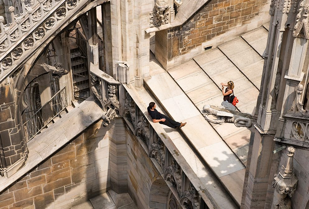 Young couple on roof of Duomo