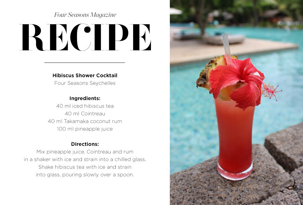 Recipe card for Hibiscus shower cocktail