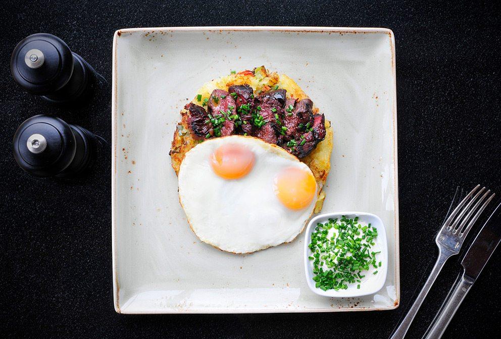FS London at Park Lane Amaranto Brunch - Steak & Hash Brown Dish