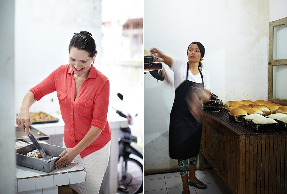 Janet DeNeefe at the Honeymoon Bakery (L); Making Bread at the Bakery (R)