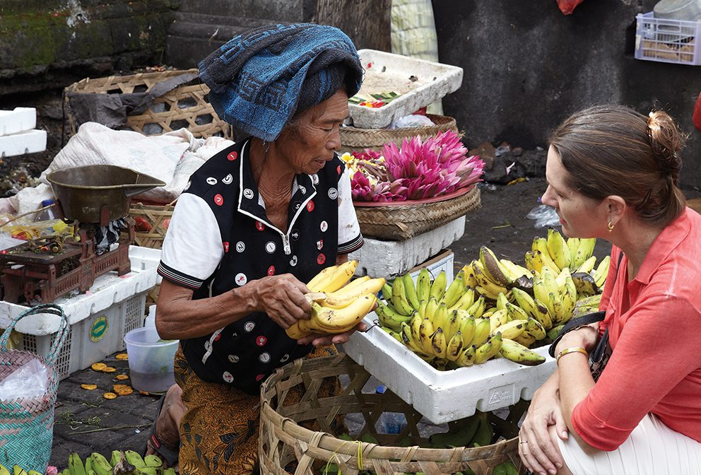 Janet DeNeefe shopping at the local market