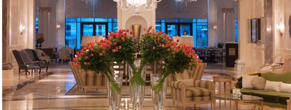 Flower arrangement in lobby
