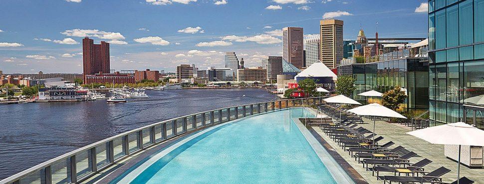 Pool overlooking city
